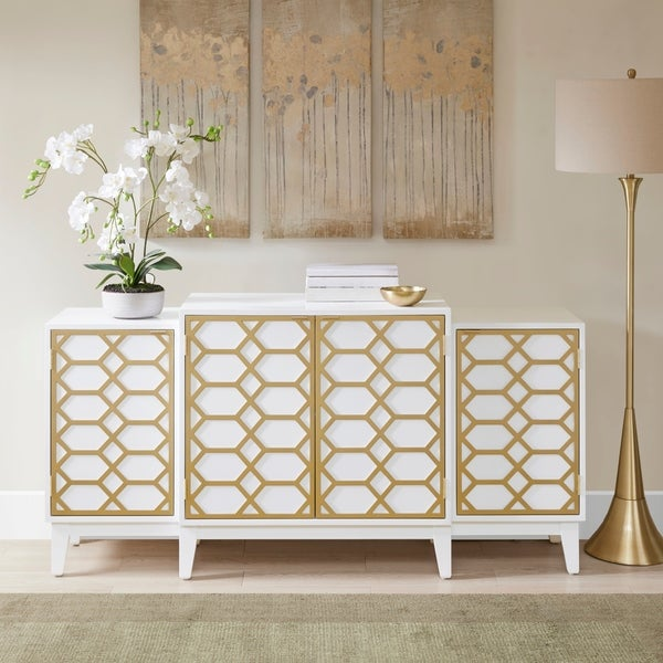 Exceptional Madison Park Gabrielle Gold/ White Dining Buffet Server Gold Lattice Design  Kitchen Storage Cabinet