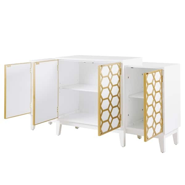 Shop Madison Park Gabrielle Gold White Dining Buffet Server