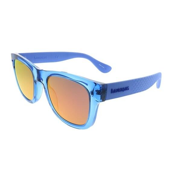 416698ced0cd Havaianas Square Paraty M GEG VQ Unisex Transparent Blue Frame Pink Mirror  Lens Sunglasses
