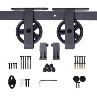 JUBEST 6.6ft Sliding Barn Door Hardware, Spoke Wheel Hanger Roller