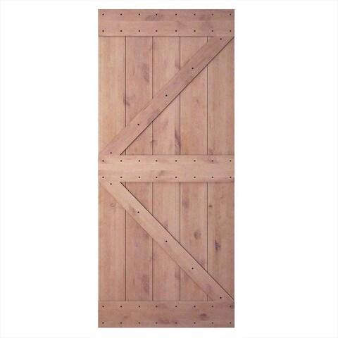 "JUBEST 36""x84"" Knotty Sliding Barn Wood Door Slab, Arrow-Frame"