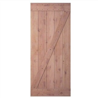 "JUBEST 36""x84"" Knotty Sliding Barn Wood Door Slab, Z-Frame"