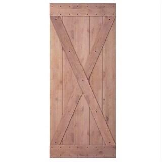 "JUBEST 36""x84"" Knotty Sliding Barn Wood Door Slab, X-Frame"