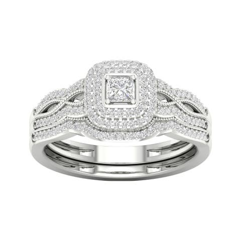 De Couer IGI Certified 10k Gold 3/8ct TDW Diamond Halo Birdal Ring
