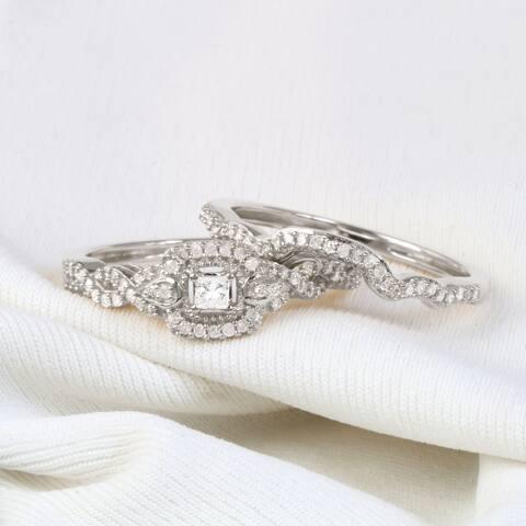 De Couer IGI Certified 10k Gold 1/3ct TDW Diamond Halo Birdal Ring