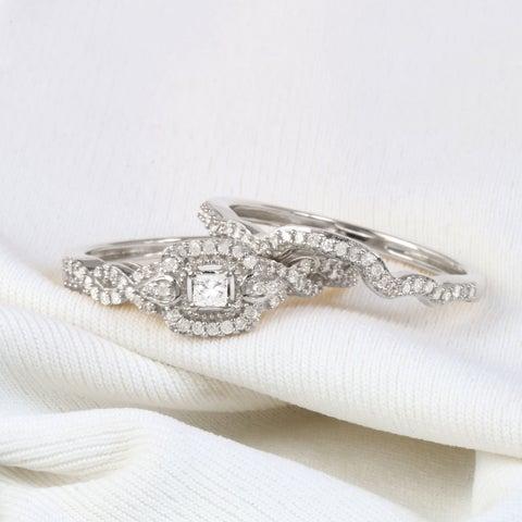 De Couer 10k Gold 1/3ct TDW Diamond Halo Birdal Ring