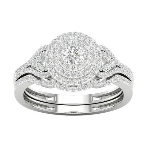 De Couer 10k Gold 1/2ct TDW Diamond Halo Birdal Ring