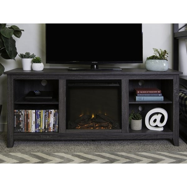Shop We Furniture 58 Wood Tv Stand Console With Fireplace