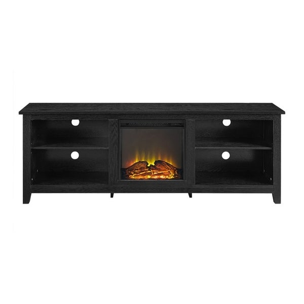 Shop We Furniture 70 Wood Fireplace Media Tv Stand Console Black