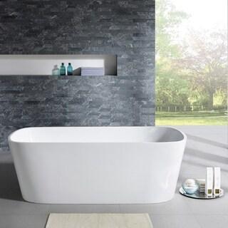 Eviva Aria Freestanding 67 in. Acrylic Bathtub in White