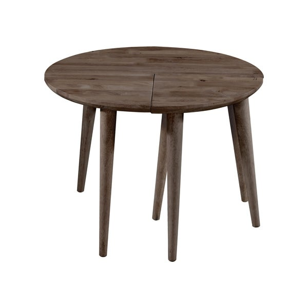 Handy Living Fundamentals Teak Finish Round Pizza Cocktail Table