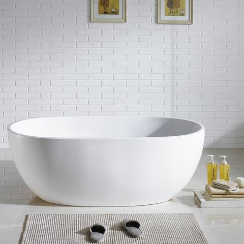 Eviva Stella Freestanding 61 in. Acrylic Bathtub in White