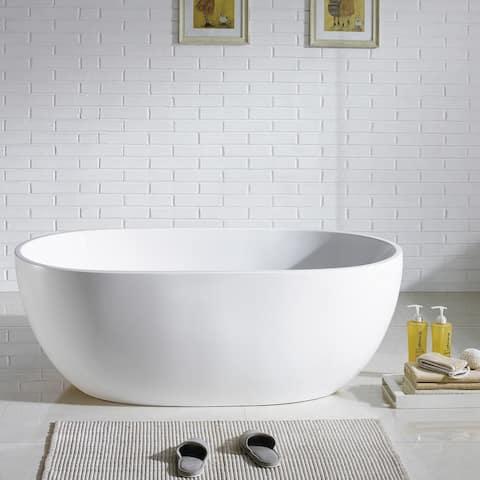 Eviva Stella Freestanding 67 in. Acrylic Bathtub in White