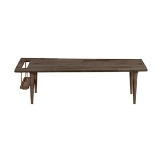Handy Living Fundamentals Teak Finish Rectangular Cocktail Table with Built in Magazine Rack