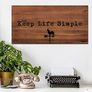 Ready2HangArt Farmhouse 'Simple Life' Wrapped Canvas Textual Wall Art - Brown