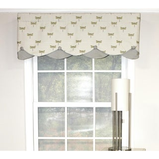 RLF Home Dragonfly Petticoat Window Valance - Parchment