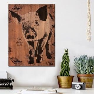 Ready2HangArt Farmhouse 'Pig' Wrapped Canvas Animal Wall Art - Brown