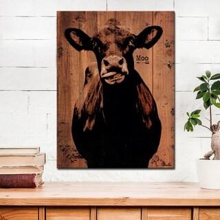 Ready2HangArt Farmhouse 'Moo' Wrapped Canvas Animal Wall Art - Brown