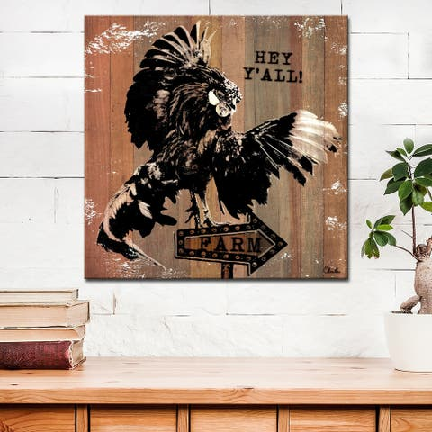 Olivia Rose Farmhouse 'Rooster Fly' Canvas Animal Textual Wall Art
