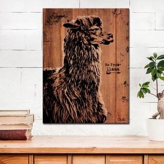 Ready2HangArt Farmhouse 'Llama' Wrapped Canvas Animal Wall Art - Brown