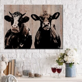Ready2HangArt Farmhouse 'Cow Duo' Wrapped Canvas Animal Wall Art - Brown