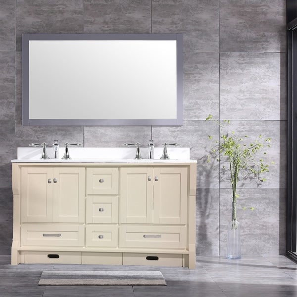 Shop Eviva Booster White Wood Finish 72 Inch Double Sink Vanity With
