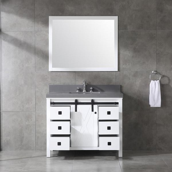 Dallas Bathroom Vanities: Shop Eviva Dallas White Wood Finish 42-inch Bathroom