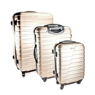 ALEKO Luggage Horizontal Stripe Champagne 3-piece Hardside Spinner Luggage Set