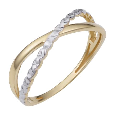 14k Two-Tone Gold Diamond-cut X Ring