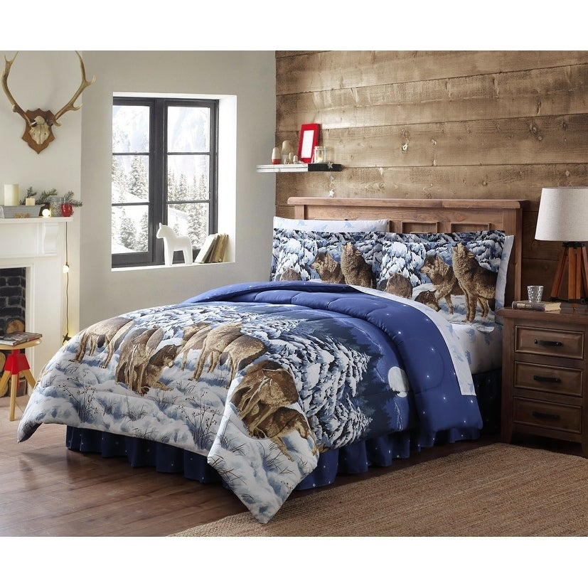 MOOSE LODGE Full//Queen or King QUILT SET BEAR FISH LOG CABIN MOUNTAIN COMFORTER