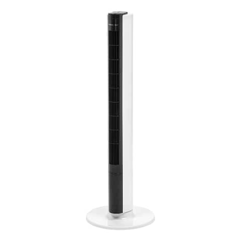 "Woozoo 40"" Tower Fan Oscillating with Remote and Timer White/Black"