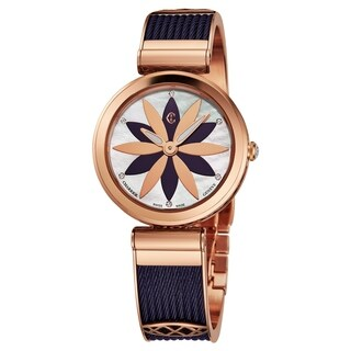 Charriol Women's FE32.A02.0A2 'Forever' Mother of Pearl Flower Dial Rose Goldtone Stainless Steel/Prune Swiss Quartz Watch