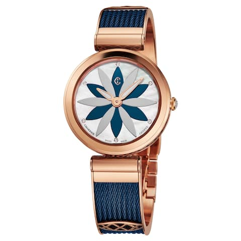 Charriol Women's FE32.F02.0F2 'Forever' Mother of Pearl Flower Dial Rose Goldtone Stainless Steel/Blue Swiss Quartz Watch