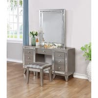 Silver Orchid Barriscale Contemporary Vanity Desk and Stool