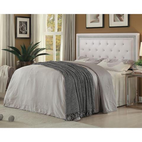 California King Headboard in White Leatherette Upholstery
