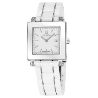 Fendi Women's F622140DDC 'Ceramic' White Diamond Dial White Ceramic Swiss Quartz Watch