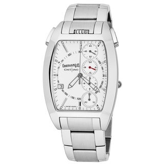 Eberhard Men's 31047.1 'Chrono 4 Temerario' White Dial Stainless Steel Swiss Automatic Watch