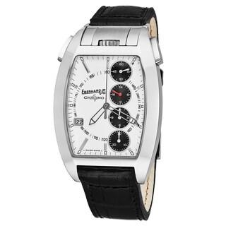Eberhard Men's 31047.8 'Chrono 4 Temerario' Silver Dial Black Leather Strap Swiss Automatic Watch