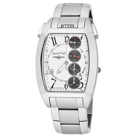 Eberhard Men's 31047.4 'Chrono 4 Temerario' White Dial Stainless Steel Swiss Automatic Watch