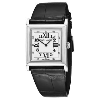Ralph Lauren Women's RLR0132700 '867 Collection' White Dial Black Leather Strap 18K White Gold Swiss Automatic Watch