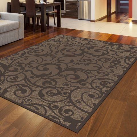 Admire Home Living Plaza Contemporary Scroll Pattern Area Rug