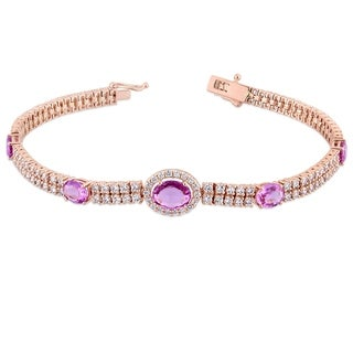 Miadora 14k Rose Gold Pink Sapphire 2-7/8ct TDW Diamond Tennis Halo Stationed Bracelet