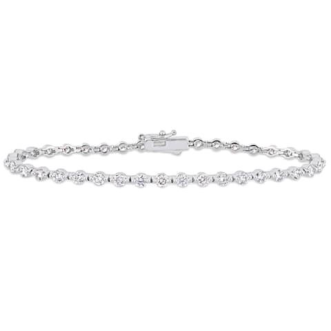 Miadora 14k White Gold 3-1/6ct TDW Diamond Link Tennis Bracelet
