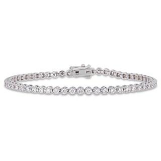 Miadora 14k White Gold 2ct TDW Diamond Circle Link Tennis Bracelet