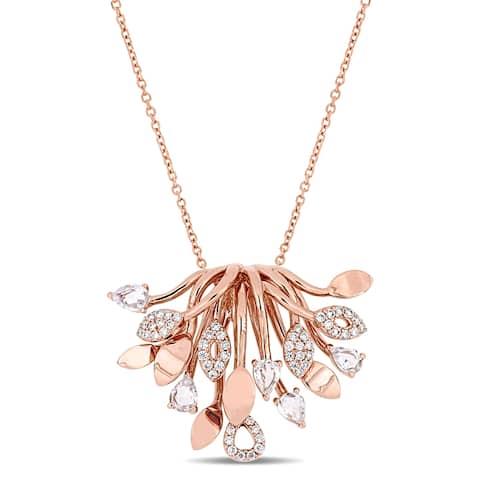 Miadora 14k Rose Gold White Sapphire & 1/3ct TDW Diamond Cluster Leaf Necklace