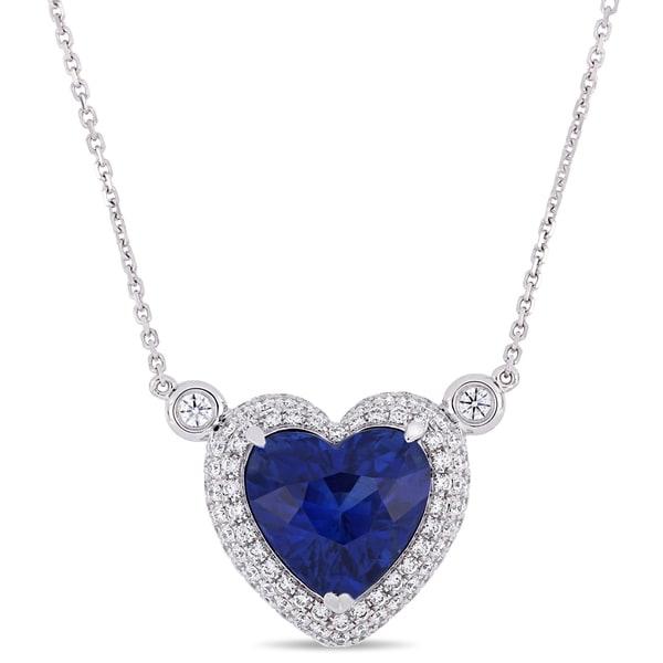 Miadora 14k White Gold Blue Sapphire 7/8ct TDW Diamond Halo Heart Necklace 37939658