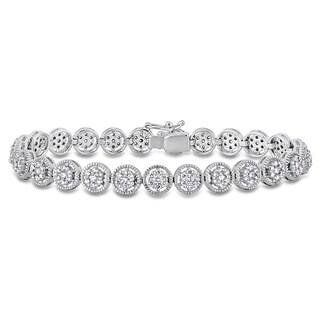 Miadora 18k White Gold 2 3/5ct TDW Diamond Halo Tennis Bracelet