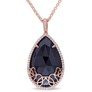Miadora 18K Rose Plated Sterling Silver Black Onyx 5/8ct TDW Diamond Teardrop Halo Necklace