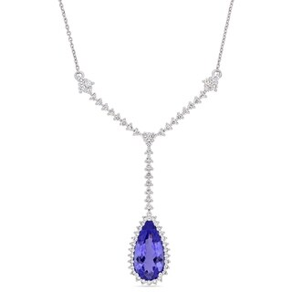 Miadora 14k White Gold Pear-Cut Tanzanite 3/4ct TDW Diamond Lariat Y-Necklace