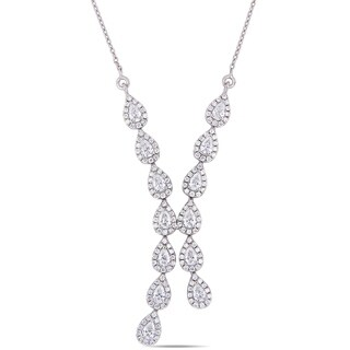 Miadora 18k White Gold 1-2/5ct TDW Pear and Round-Cut Diamond Lariat Y-Necklace